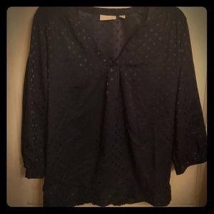 Navy blue polka dot New York and Company blouse.
